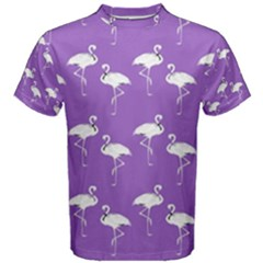 Flamingo White On Lavender Pattern Men s Cotton Tees