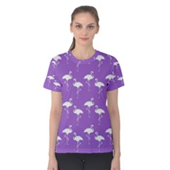 Flamingo White On Lavender Pattern Women s Cotton Tees