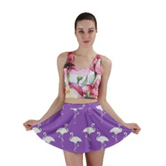 Flamingo White On Lavender Pattern Mini Skirts