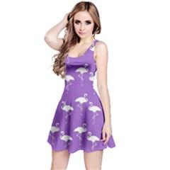 Flamingo White On Lavender Pattern Reversible Sleeveless Dresses