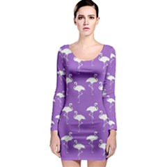 Flamingo White On Lavender Pattern Long Sleeve Bodycon Dresses
