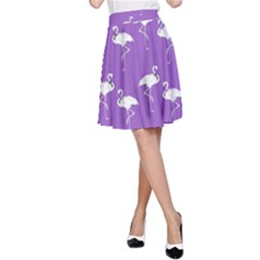 Flamingo White On Lavender Pattern A-Line Skirts