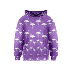 Flamingo White On Lavender Pattern Kid s Pullover Hoodies
