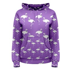 Flamingo White On Lavender Pattern Women s Pullover Hoodies