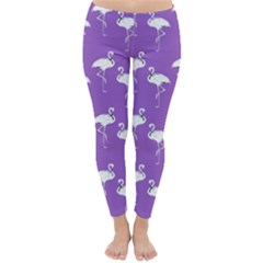 Flamingo White On Lavender Pattern Winter Leggings