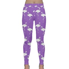 Flamingo White On Lavender Pattern Yoga Leggings