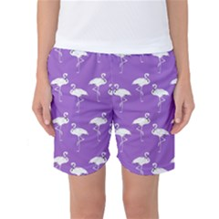 Flamingo White On Lavender Pattern Women s Basketball Shorts