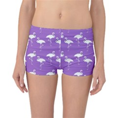Flamingo White On Lavender Pattern Boyleg Bikini Bottoms