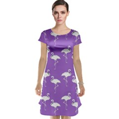 Flamingo White On Lavender Pattern Cap Sleeve Nightdresses