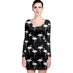 Flamingo Pattern White On Black  Long Sleeve Bodycon Dresses