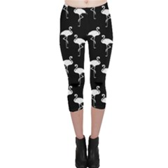 Flamingo Pattern White On Black  Capri Leggings