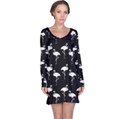 Flamingo Pattern White On Black  Long Sleeve Nightdresses