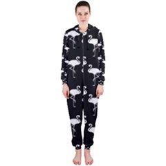 Flamingo Pattern White On Black  Hooded Jumpsuit (ladies)
