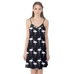 Flamingo Pattern White On Black  Camis Nightgown