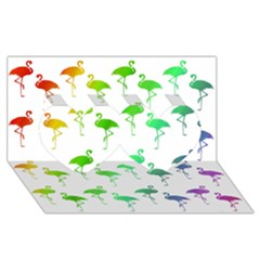 Flamingo Pattern Rainbow  Twin Hearts 3D Greeting Card (8x4)