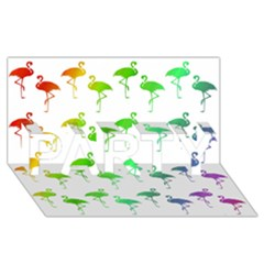 Flamingo Pattern Rainbow  Party 3d Greeting Card (8x4)