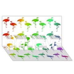 Flamingo Pattern Rainbow  Believe 3d Greeting Card (8x4)