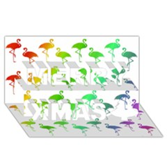 Flamingo Pattern Rainbow  Merry Xmas 3D Greeting Card (8x4)