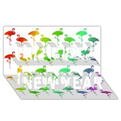 Flamingo Pattern Rainbow  Happy New Year 3d Greeting Card (8x4)