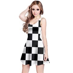 Checkered Flag Race Winner Mosaic Tile Pattern Reversible Sleeveless Dresses