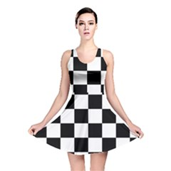 Checkered Flag Race Winner Mosaic Tile Pattern Reversible Skater Dresses