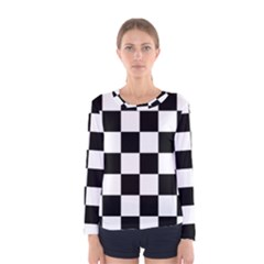Checkered Flag Race Winner Mosaic Tile Pattern Women s Long Sleeve T-shirts