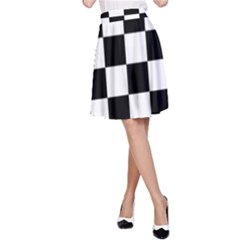 Checkered Flag Race Winner Mosaic Tile Pattern A-Line Skirts