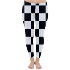 Checkered Flag Race Winner Mosaic Tile Pattern Winter Leggings