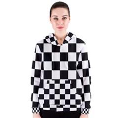 Checkered Flag Race Winner Mosaic Tile Pattern Women s Zipper Hoodies