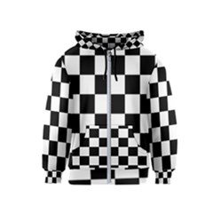 Checkered Flag Race Winner Mosaic Tile Pattern Kids Zipper Hoodies