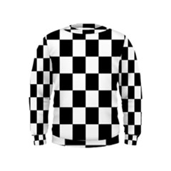 Checkered Flag Race Winner Mosaic Tile Pattern Boys  Sweatshirts