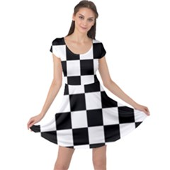 Checkered Flag Race Winner Mosaic Tile Pattern Cap Sleeve Dresses