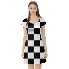 Checkered Flag Race Winner Mosaic Tile Pattern Short Sleeve Skater Dresses