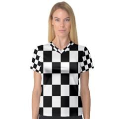 Checkered Flag Race Winner Mosaic Tile Pattern Women s V-Neck Sport Mesh Tee