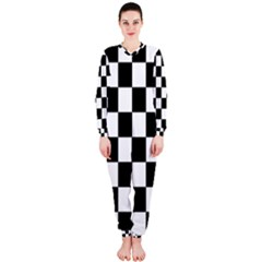 Checkered Flag Race Winner Mosaic Tile Pattern Onepiece Jumpsuit (ladies)