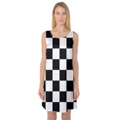 Checkered Flag Race Winner Mosaic Tile Pattern Sleeveless Satin Nightdresses