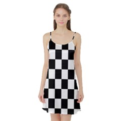 Checkered Flag Race Winner Mosaic Tile Pattern Satin Night Slip