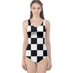 Checkered Flag Race Winner Mosaic Tile Pattern Women s One Piece Swimsuits
