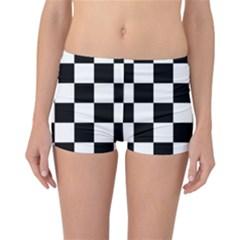 Checkered Flag Race Winner Mosaic Tile Pattern Reversible Boyleg Bikini Bottoms