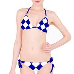 Harlequin Diamond Pattern Cobalt Blue White Bikini Set