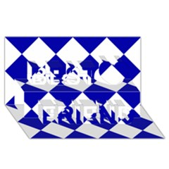 Harlequin Diamond Pattern Cobalt Blue White Best Friends 3d Greeting Card (8x4)