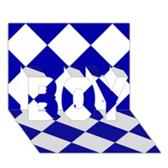 Harlequin Diamond Pattern Cobalt Blue White Boy 3d Greeting Card (7x5)