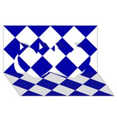 Harlequin Diamond Pattern Cobalt Blue White Twin Hearts 3D Greeting Card (8x4)