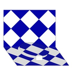 Harlequin Diamond Pattern Cobalt Blue White Circle Bottom 3d Greeting Card (7x5)