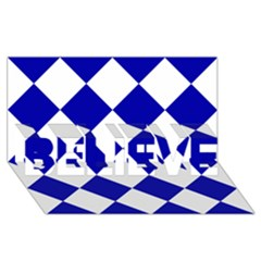 Harlequin Diamond Pattern Cobalt Blue White BELIEVE 3D Greeting Card (8x4)
