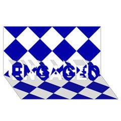 Harlequin Diamond Pattern Cobalt Blue White Engaged 3d Greeting Card (8x4)