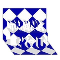 Harlequin Diamond Pattern Cobalt Blue White Thank You 3d Greeting Card (7x5)