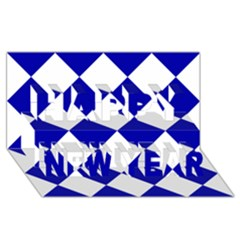 Harlequin Diamond Pattern Cobalt Blue White Happy New Year 3D Greeting Card (8x4)