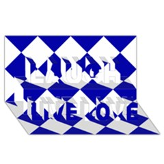 Harlequin Diamond Pattern Cobalt Blue White Laugh Live Love 3D Greeting Card (8x4)