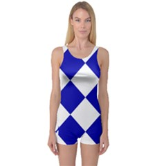 Harlequin Diamond Pattern Cobalt Blue White Women s Boyleg One Piece Swimsuits